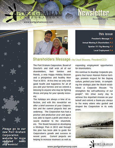 Shareholders Message – December 2012 Newsletter